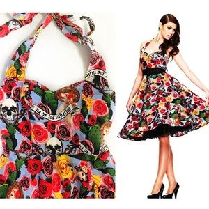 HELL BUNNY Dia De Los Muertos Rockabilly Dress L